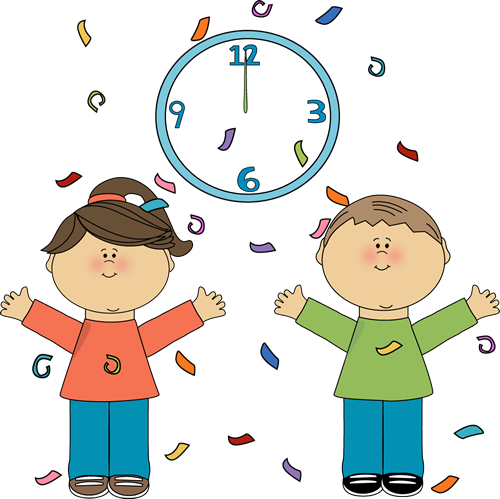 Kids Celebrating the New Year - New Year Clip Art