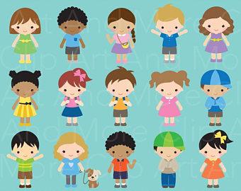 Kids Clipart Children Clipart Boy Clipart Girl Clip Art Kid Character Clipart  Children Cartoon Clipart Set