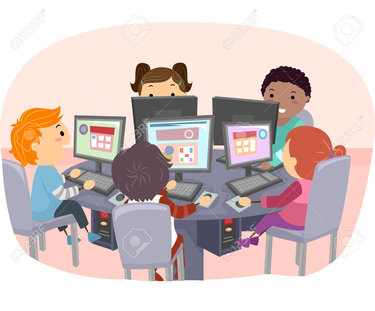 Kids Computer Lab Clipart .