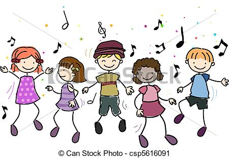 Kids Dancing - Illustration of Kids Danc-Kids Dancing - Illustration of Kids Dancing Along to Music-11