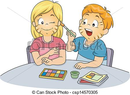 ... Kids Doing Face Painting - Illustration of Male and Female.