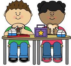Kids Eating School Lunch - Children Eating Clipart