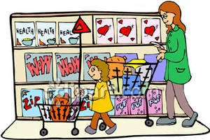 Kids Grocery Shopping Clipart