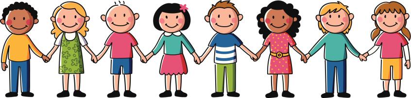 Kids Holding Hands Vector Art Illustrati-Kids holding hands vector art illustration-15