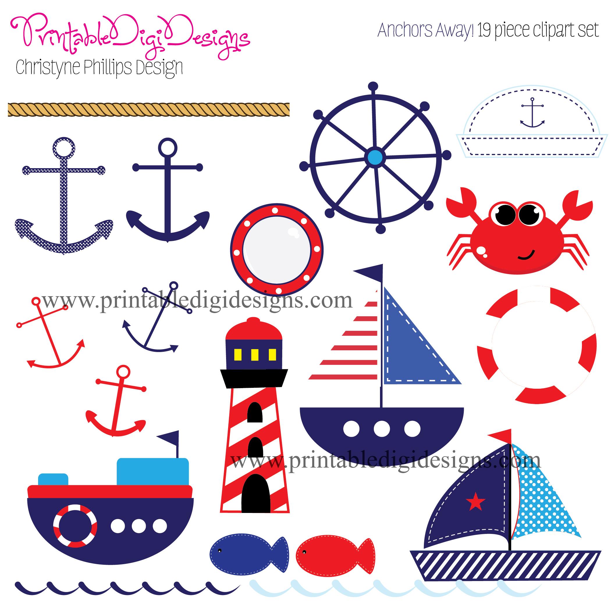Kids Nautical Clipart Anchors Away Nautical Clipart