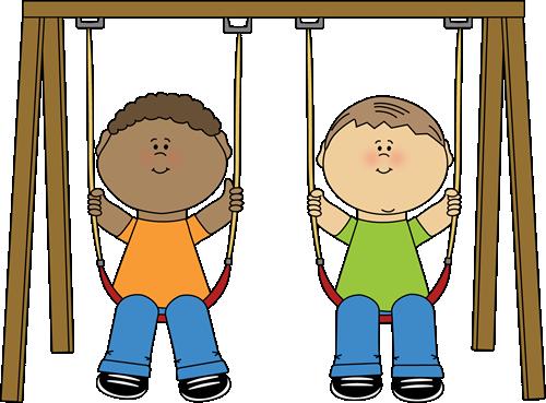 Kids on a Swing Clip Art Image - two kid-Kids on a Swing Clip Art Image - two kids swinging on a wooden swing set.-4