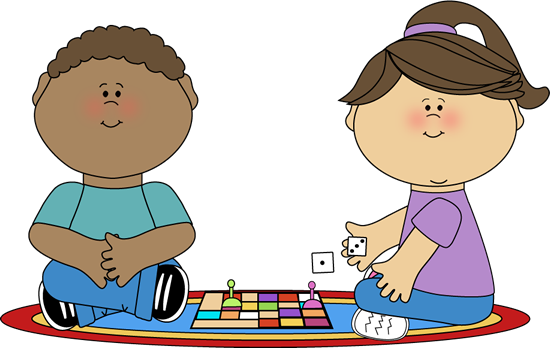 Kids Playing a Board Game - Play Clip Art