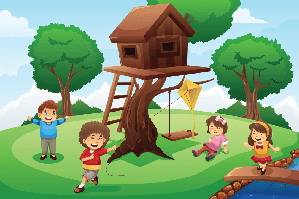 Kids Playing around Tree House | Clipart