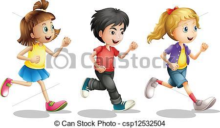 ... Kids running - Illustration of kids running on a white.