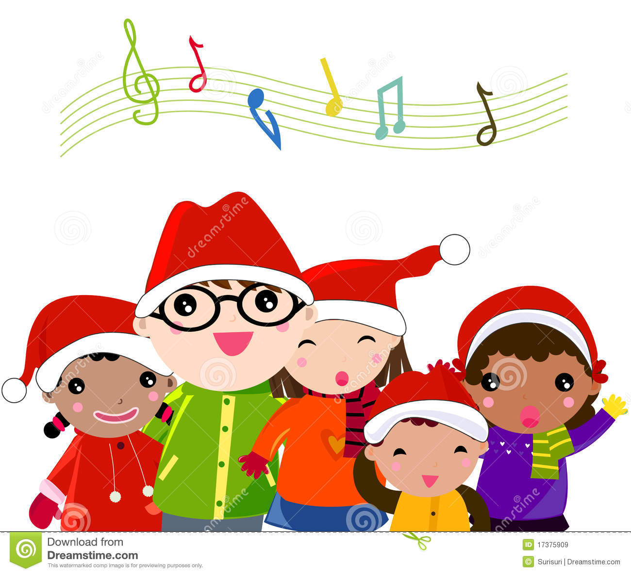 Kids Signing Christmas Carols Clip Art