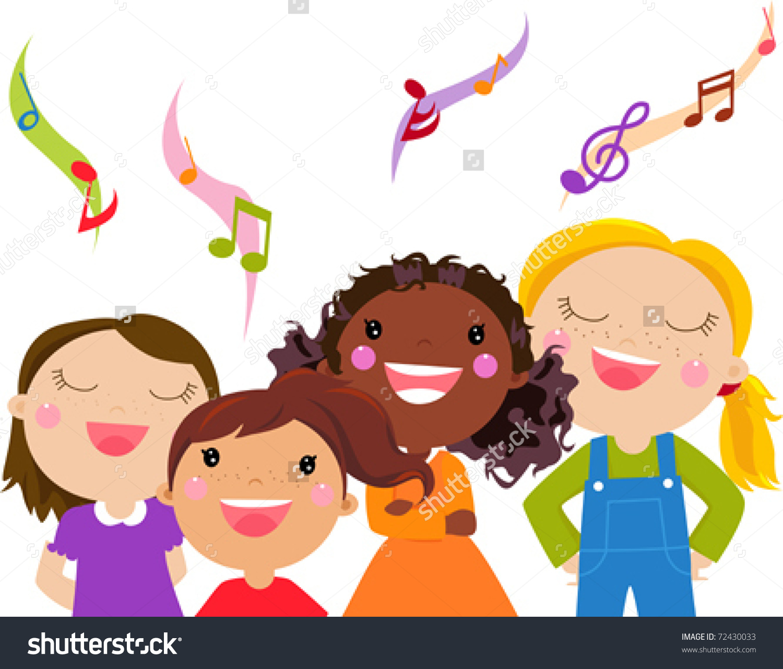 Kids Singing - Vector .