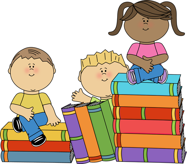 Kids Sitting on Books - Books Clip Art