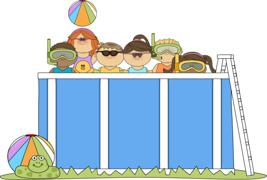 Kids Swimming Clip Art Image - bunch of kids wearing sunglasses, goggles, and floats, swimming in a pool.