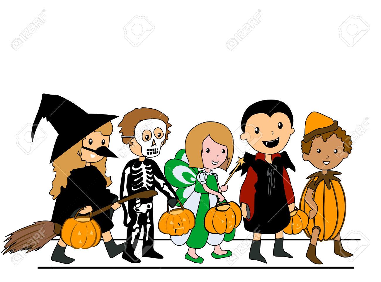kids walking in halloween .