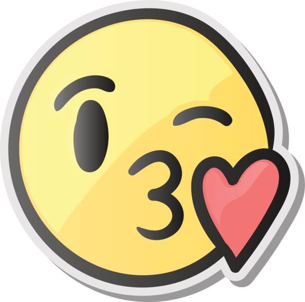 Emoji Kissing Smiling Face, Emoticon Wit-Emoji kissing smiling face, emoticon with kiss love lips, vector  illustration. vector art-9
