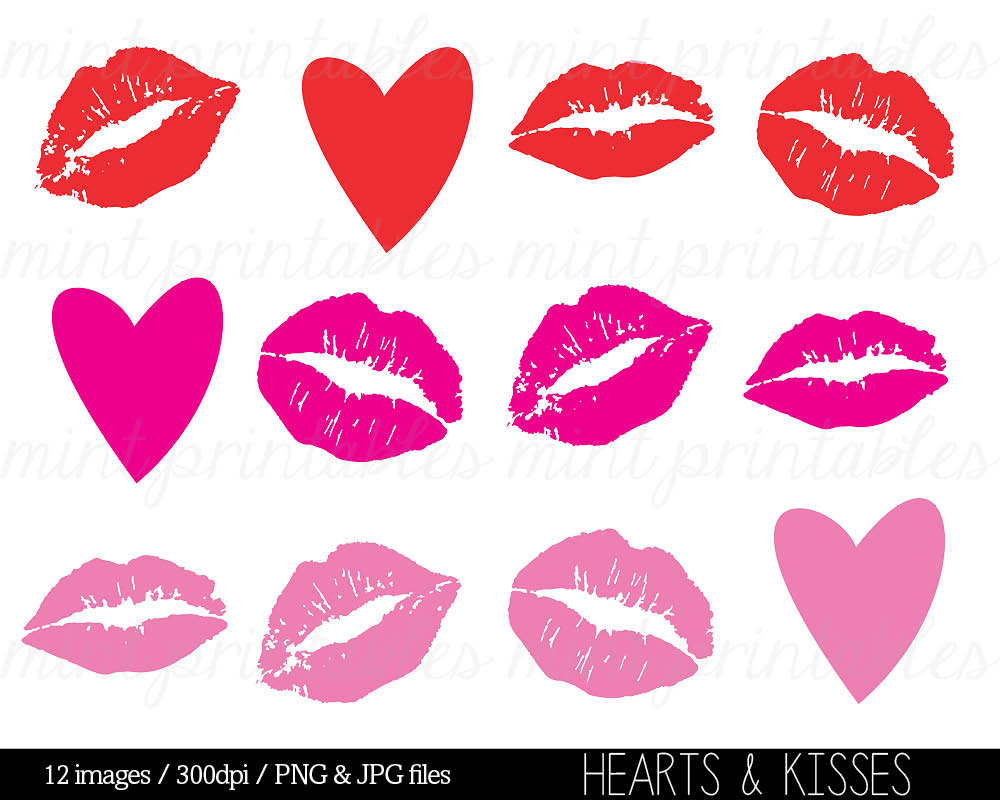 Kisses Clipart Clip Art Heart Clipart Hearts by mintprintables