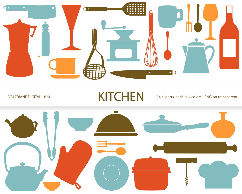 Kitchen clipartu0026#39;s, retro kitchen utensils, scrapbook supplies, clipart, clip art, instant download 634