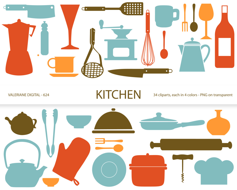Kitchen clipartu0026#39;s, retro kitchen-Kitchen clipartu0026#39;s, retro kitchen utensils, scrapbook supplies, clipart, clip art, instant download 634-13
