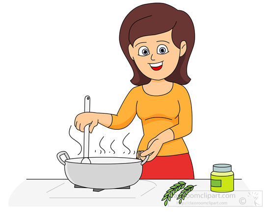 Kitchen clipart man cooking .