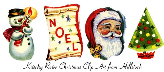 Kitschy Retro Christmas Clip Art