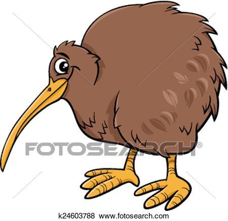 Cartoon Illustration of Funny Kiwi Bird Animal