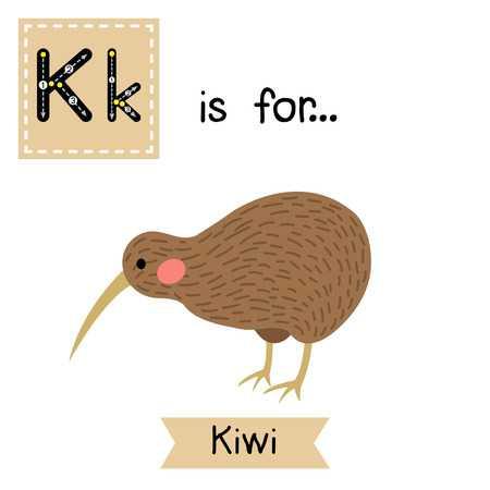 Kiwi Bird. Cute Children Zoo Alphabet Fl-Kiwi bird. Cute children zoo alphabet flash card. Funny cartoon-15