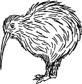 Pelican bird cartoon waving; kiwi bird