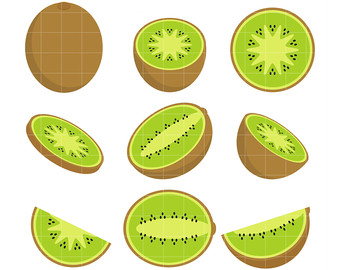 Kiwi Set Clip Art for Scrapbooking Card Making Cupcake Toppers Paper Crafts