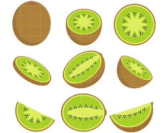 Kiwi Set Clip Art for Scrapbooking Card -Kiwi Set Clip Art for Scrapbooking Card Making Cupcake Toppers Paper Crafts-17
