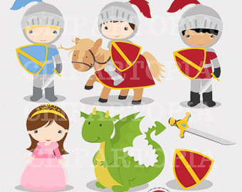 Knights and Dragon Digital Clipart / Dig-Knights and Dragon Digital Clipart / Digital Clip Art For Personal and Commercial Use/INSTANT DOWNLOAD-15