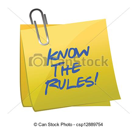 ... know the rules written on a post it note illustration design