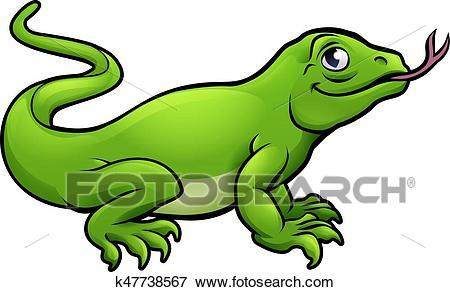A Komodo Dragon Lizard Cute Cartoon Char-A Komodo dragon lizard cute cartoon character-1