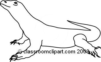 Animals : Komodo_dragon_bw_2 : Classroom-Animals : komodo_dragon_bw_2 : Classroom Clipart-2