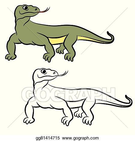 Vector Art - Illustration Of Varan (komo-Vector Art - Illustration of varan (komodo dragon). coloring book. EPS  clipart gg81414715-19