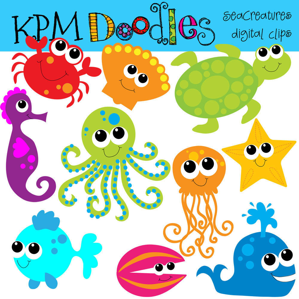 Kpm Bright Sea Creatures Digital Clip Art By Kpmdoodles On Etsy