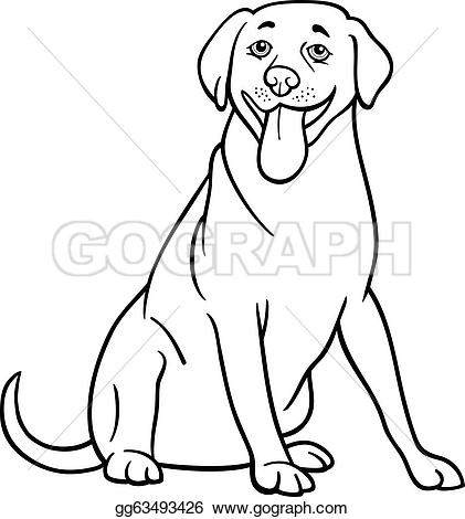 ... labrador retriever dog cartoon for coloring