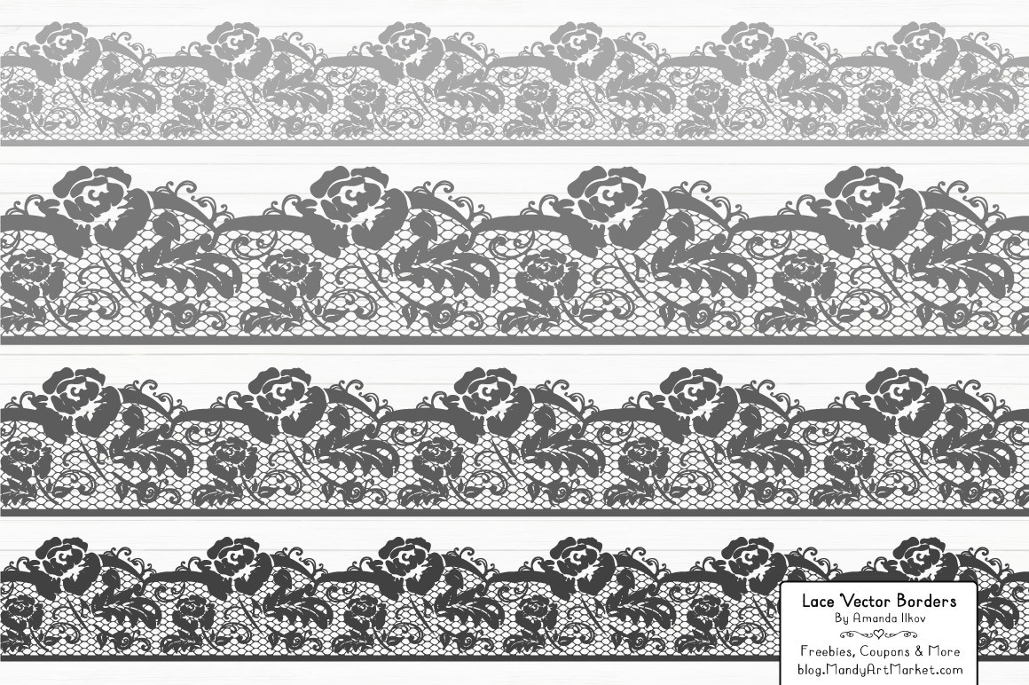 Lace Border Clipart in Grey