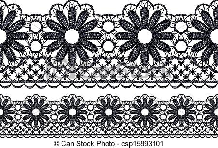 Lace Clipart Border Free. Seamless openwork lace border.