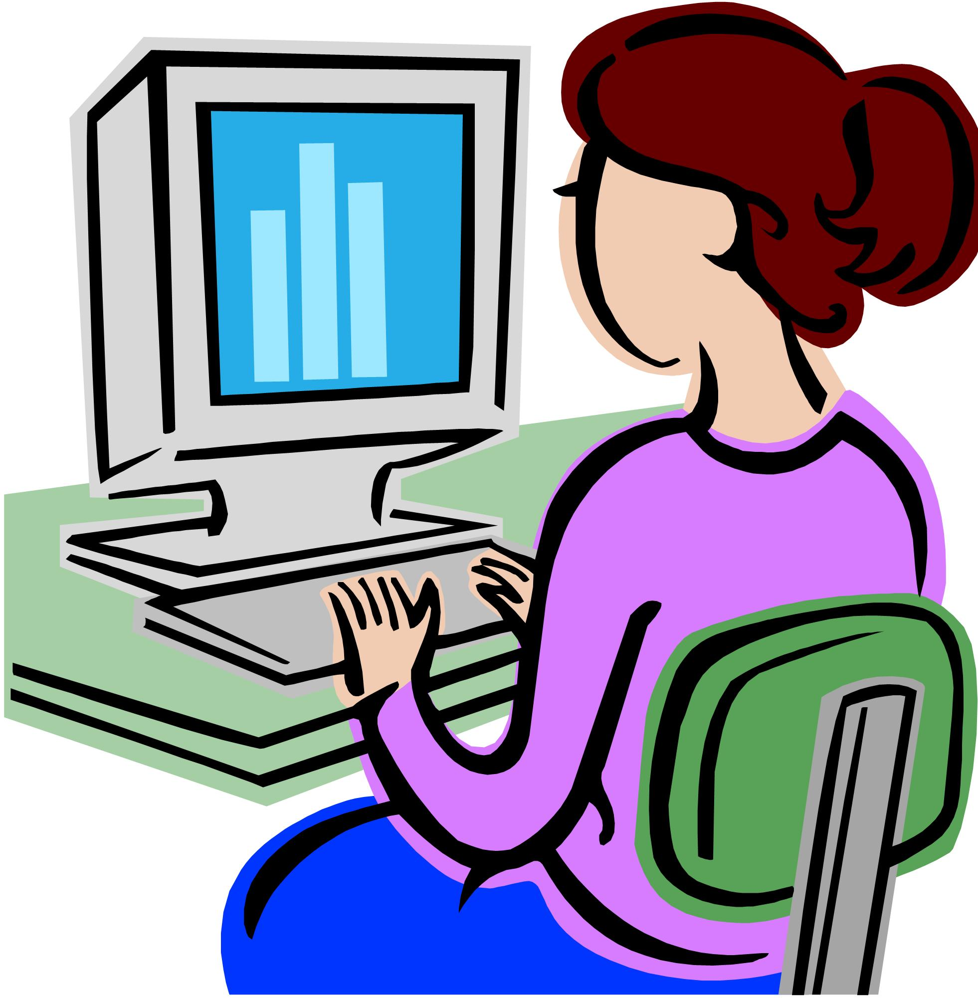 Lady On Computer Clipart