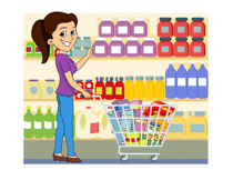 lady shopping at grocery store clipart. Size: 128 Kb