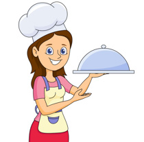 lady with a covered food tray clipart. Size: 113 Kb