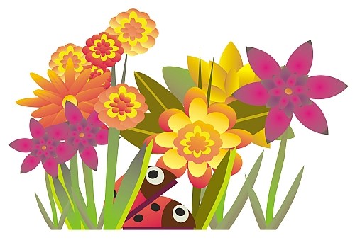 Ladybird And Flowers Small - Flower Garden Clipart