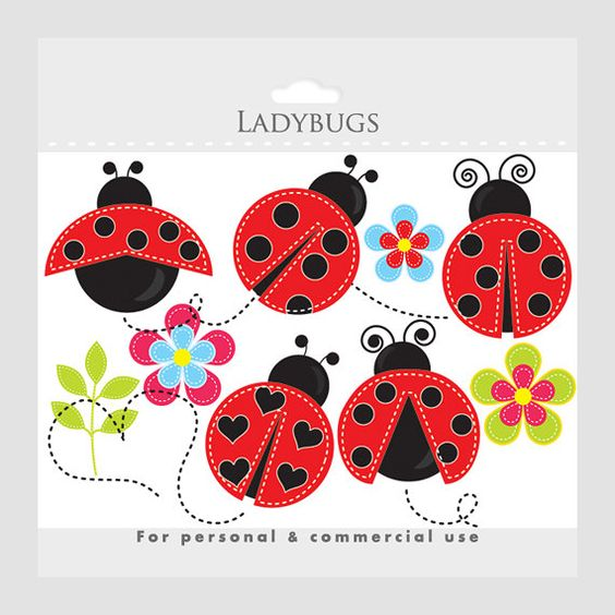 Ladybug clipart - stitched ladybugs clip art, lady bugs, cute, whimsical, insects