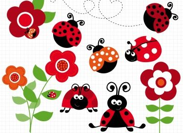 This RED LADYBUG GARDEN clipart set includes red ladybugs / ladybirds  sitting on flowers, crawling on the ground and enjoying the garden.