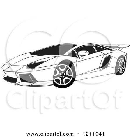 Clipart of a Black and White Lamborghini Aventador Sports Car - Royalty  Free Vector Illustration by Lal Perera