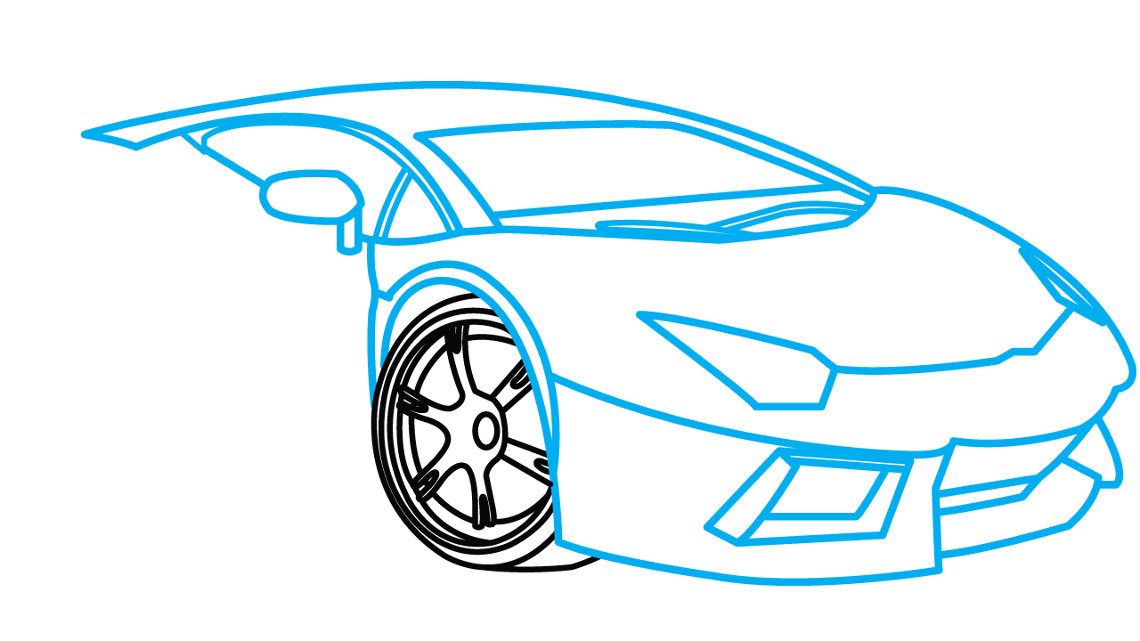 Lamborghini Aventador Step-by-Step Drawing Tutorial step 5