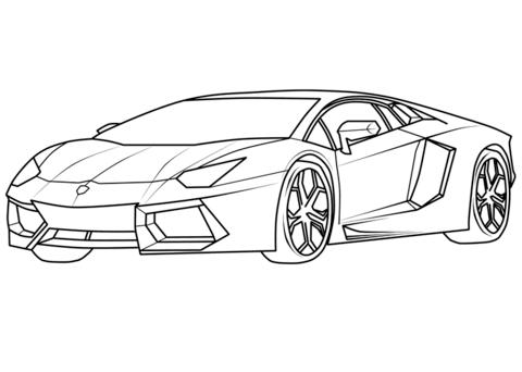 Lamborghini Aventador Supercar coloring -Lamborghini Aventador Supercar coloring page-0