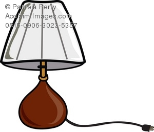 Clip Art Illustration of a Bedroom Table Lamp