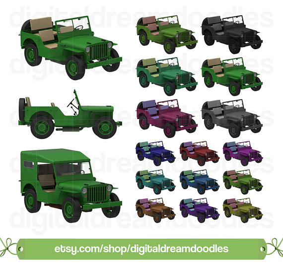 Jeep Clipart, Jeep Clip Art, Army Jeep Image, Military Jeep Graphic, Light  Duty Jeep PNG, Landrover Scrapbook, Land Rover Digital Download