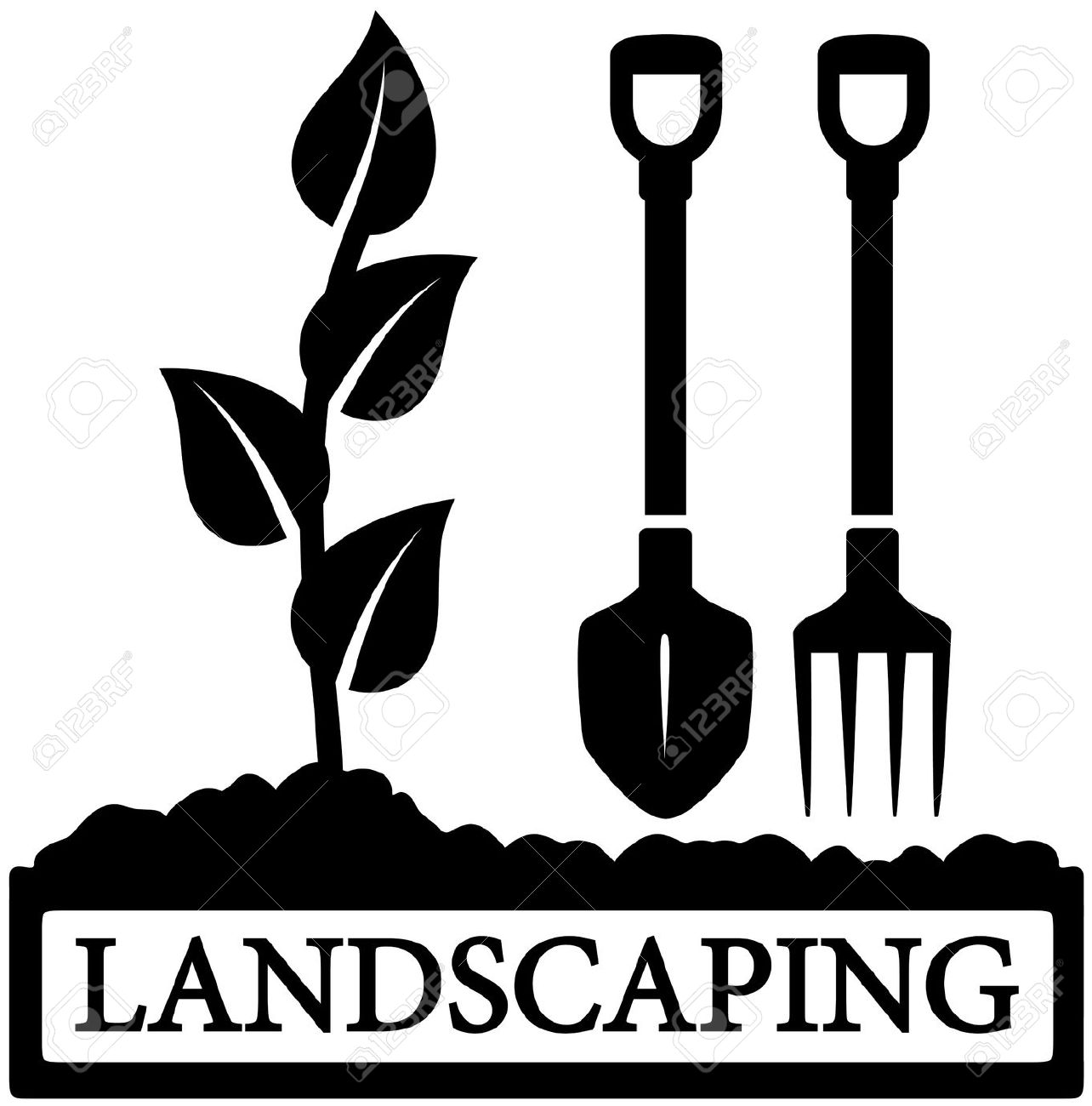 Landscaping Tools Clipart . ... gardening tools silhouette .